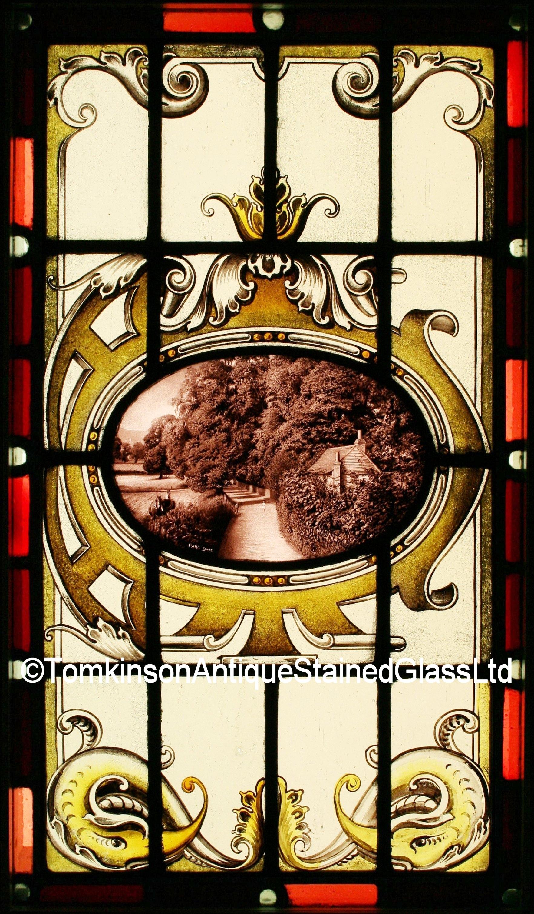 Ref Ed249 Edwardian Stained Glass Window Quot Park Lane