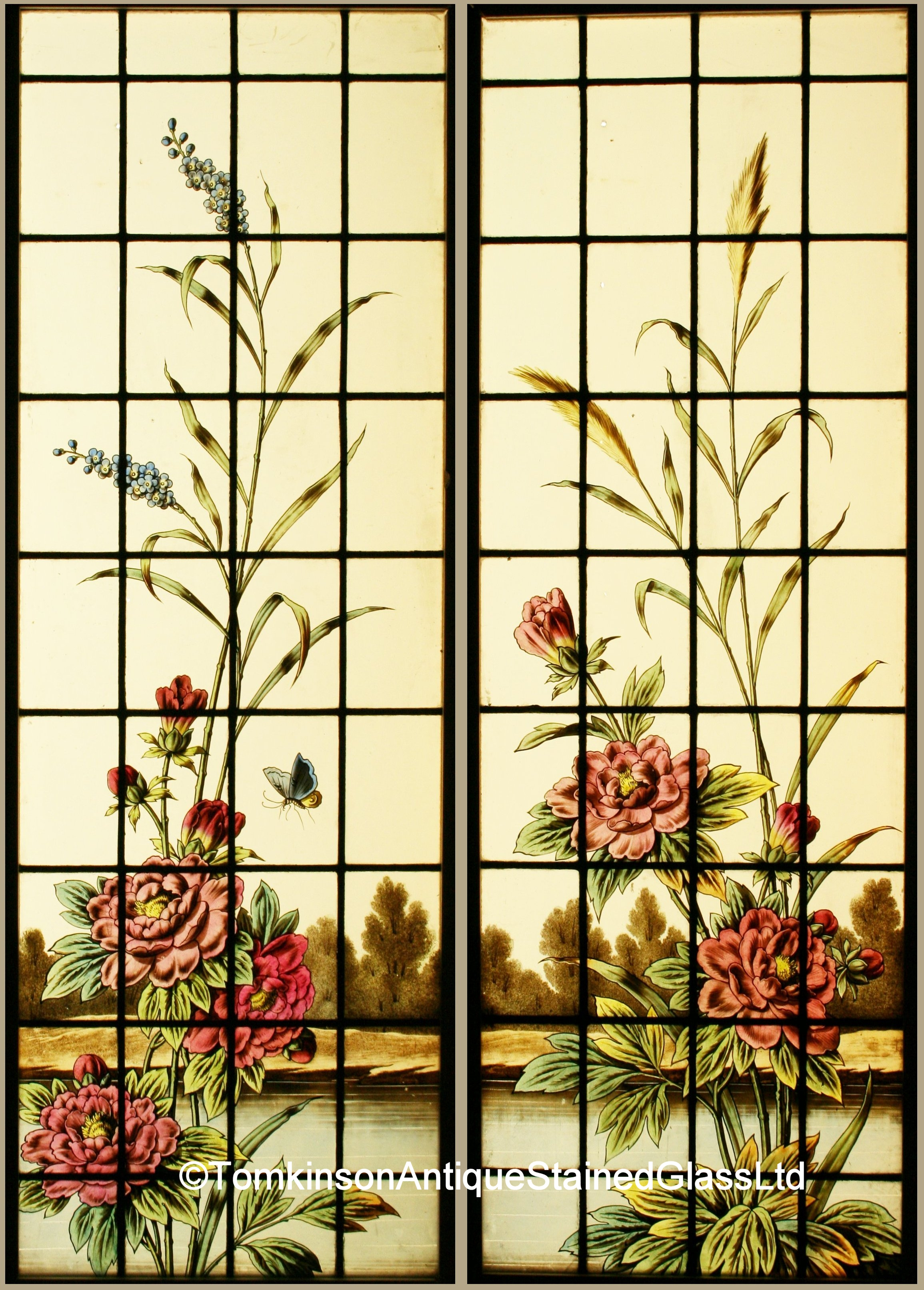 Ref Fre248 Pair Antique French Stained Glass Windows