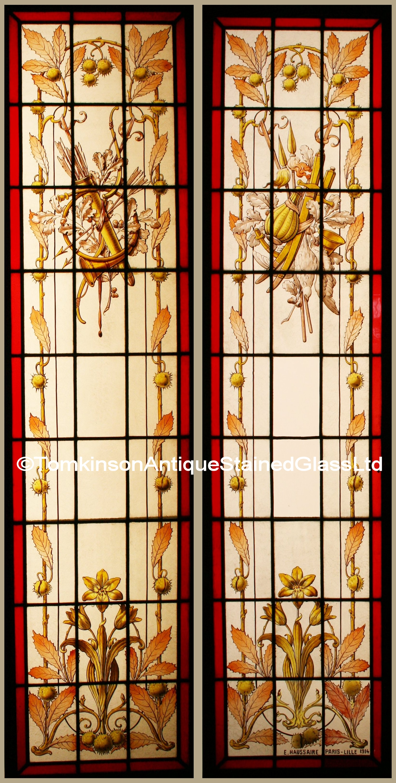 Ref Fre210 Pair French Stained Glass Windows Quot Ch 226 Teau