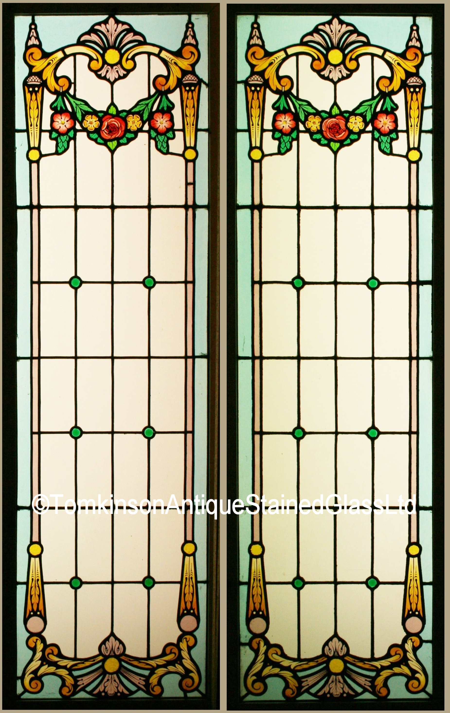 Ref Fre243 Antique French Stained Glass Window Quot Rose