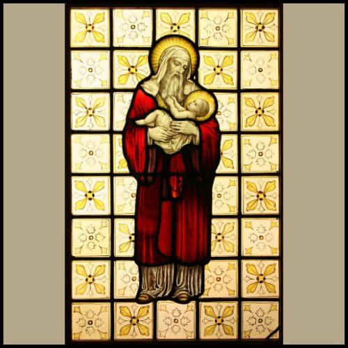 Joseph & Baby Jesus stained glass