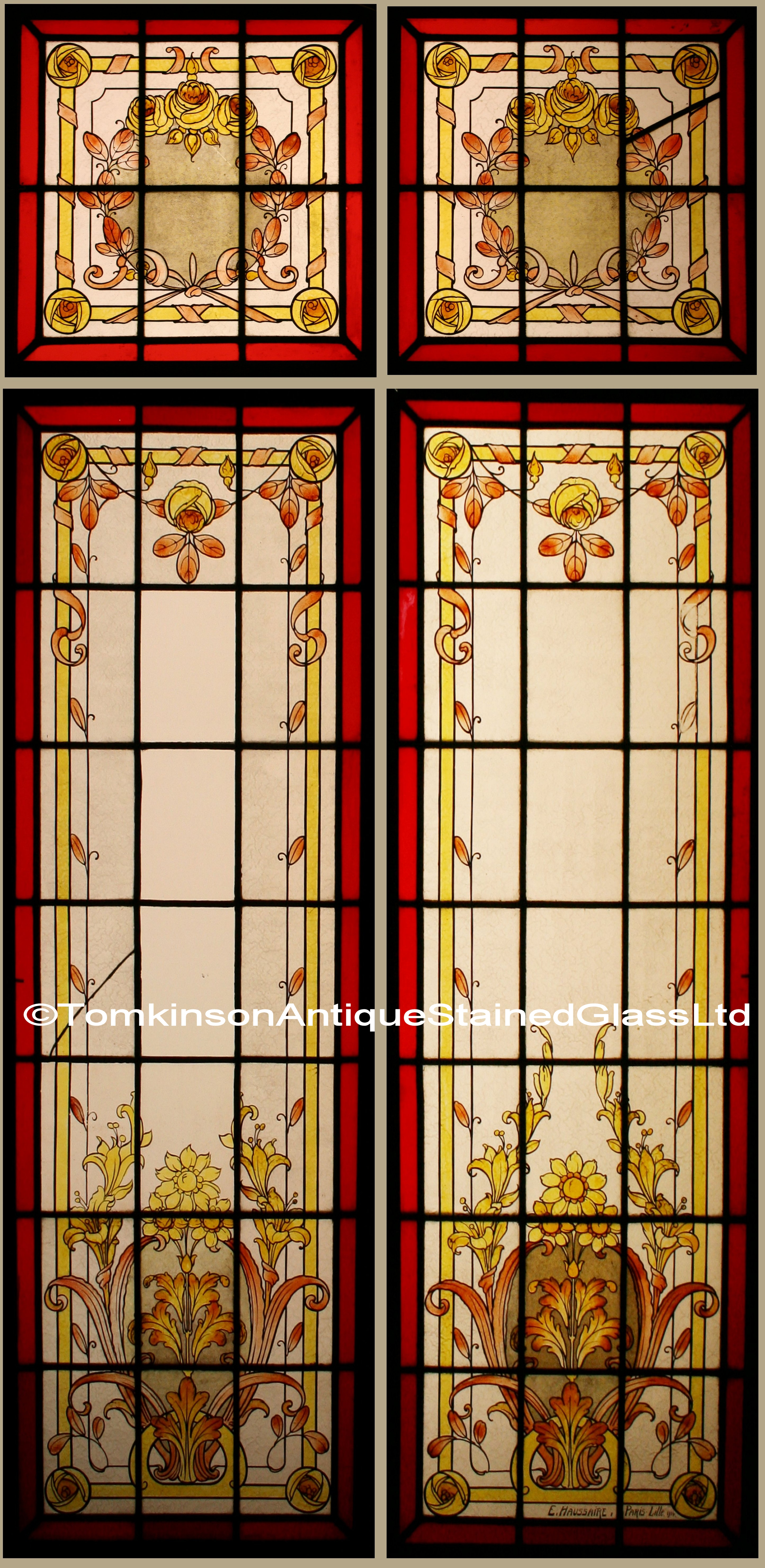 Ref Fre207 Pair French Stained Glass Windows Quot Ch 226 Teau