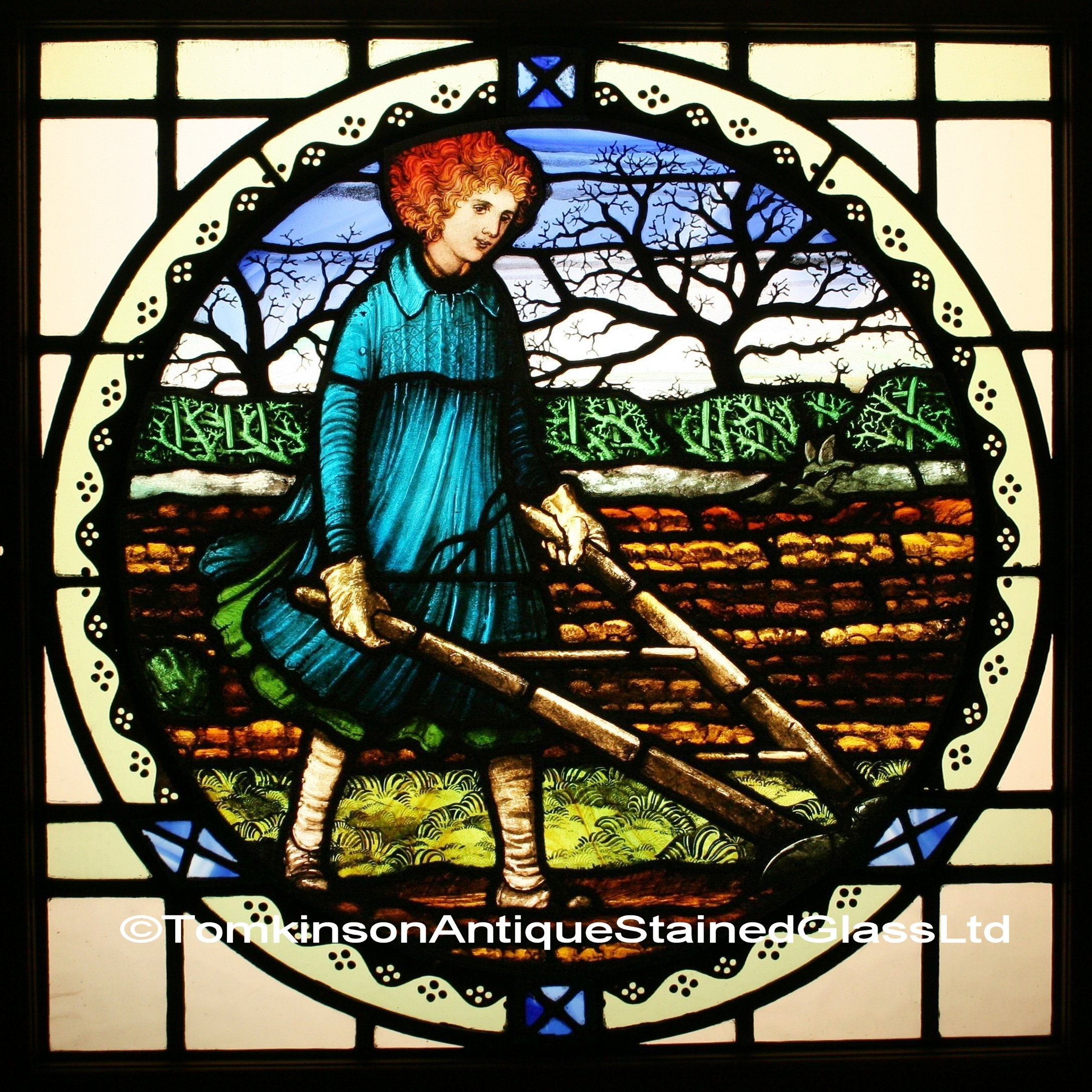 Ref Ed295 Edwardian Stained Glass Window Quot Ploughing