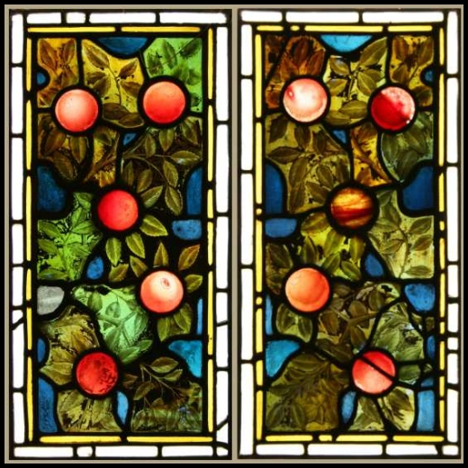 Ref vic422 2 antique victorian stained glass panels for Arts and crafts glass