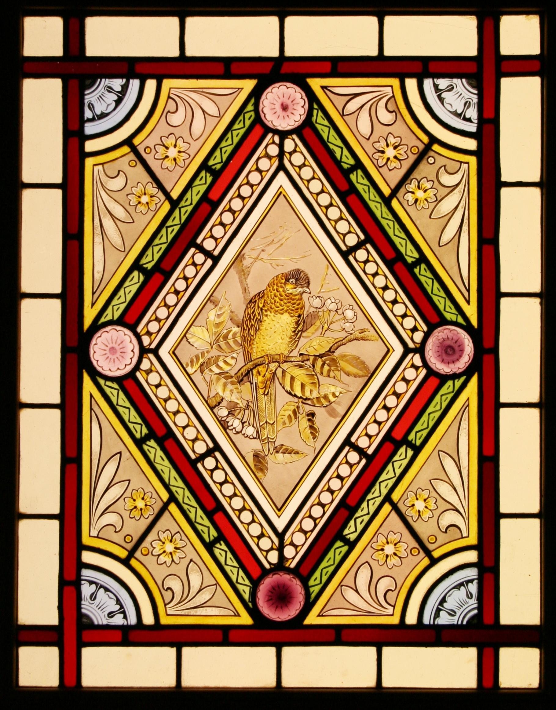 Ref Vic503 2 Antique Victorian Stained Glass Windows