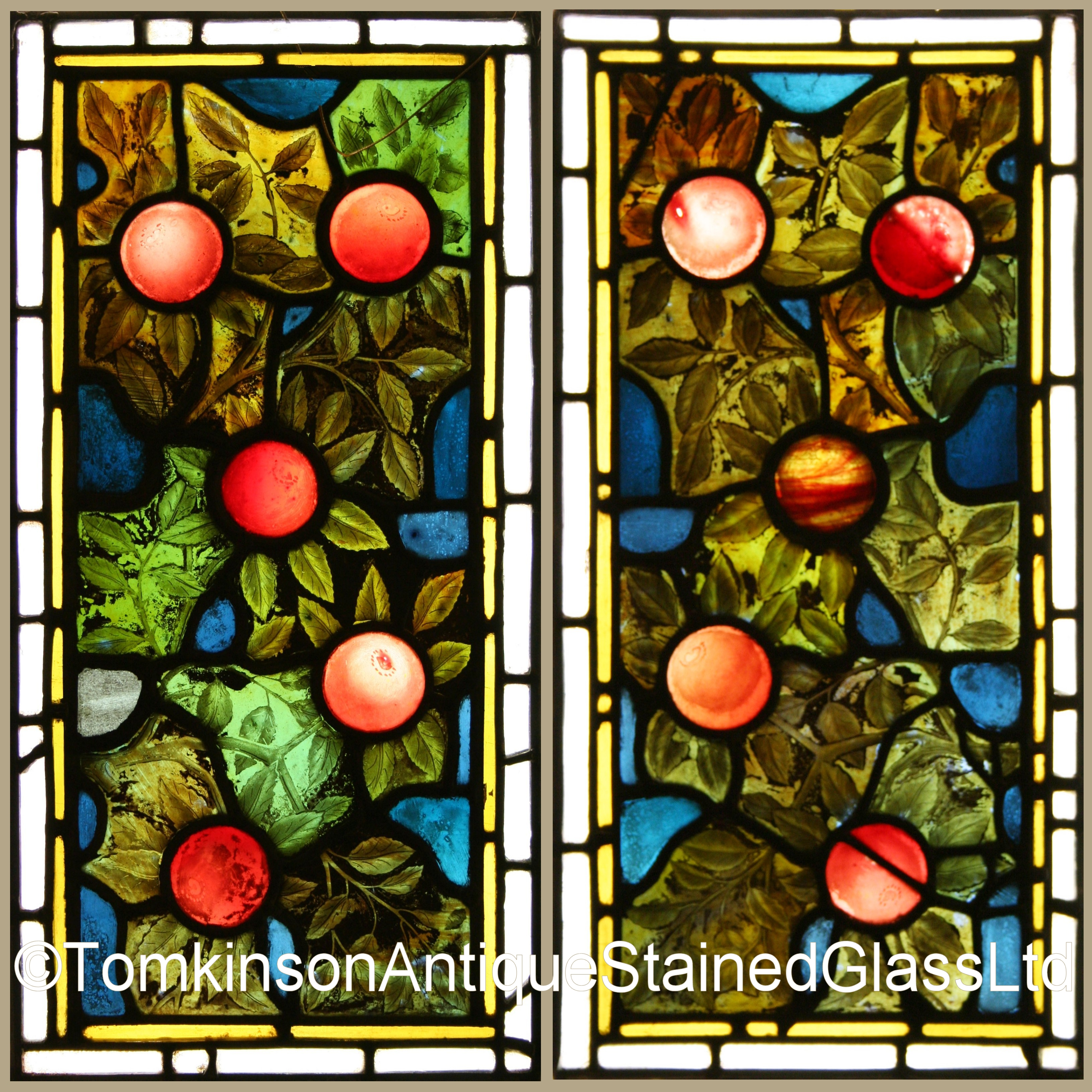 Ref Vic422 2 Antique Victorian Stained Glass Panels