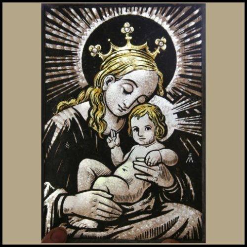 madonna & child stained glass