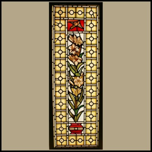 Urn of Lilies stained glass