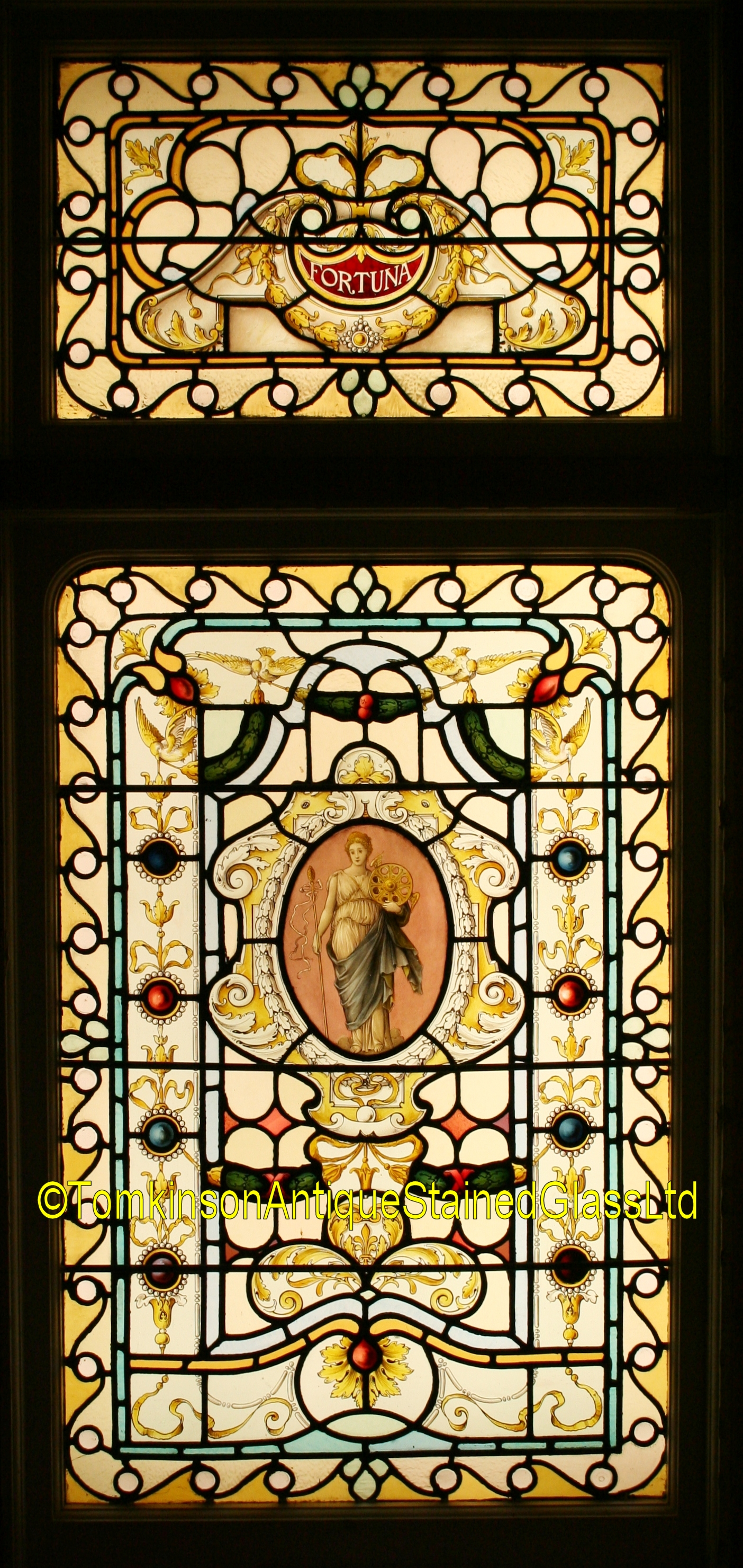 Ref Vic537 Victorian Stained Glass Window Fortuna