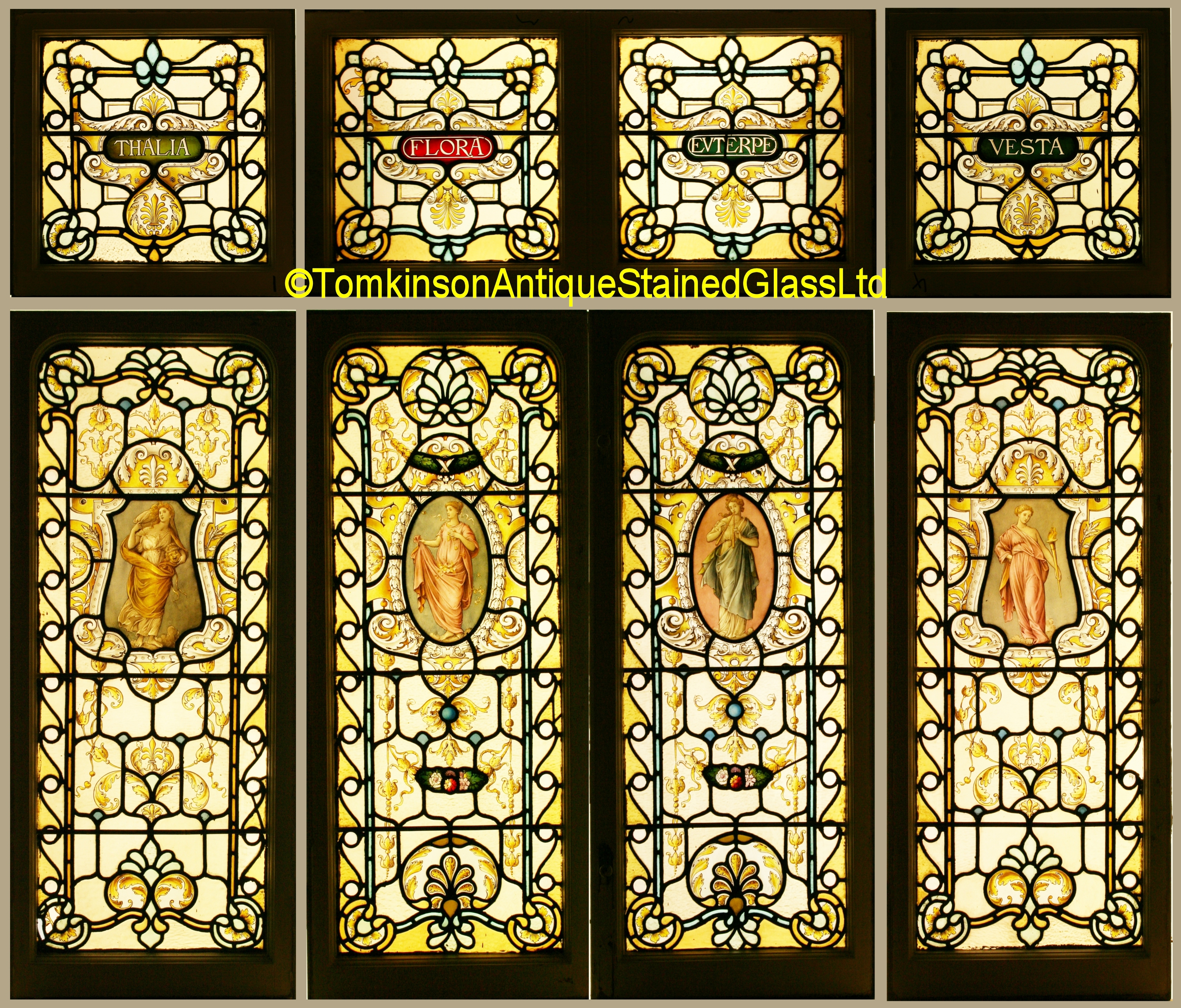 Ref Vic538 Set Of Victorian Stained Glass Windows