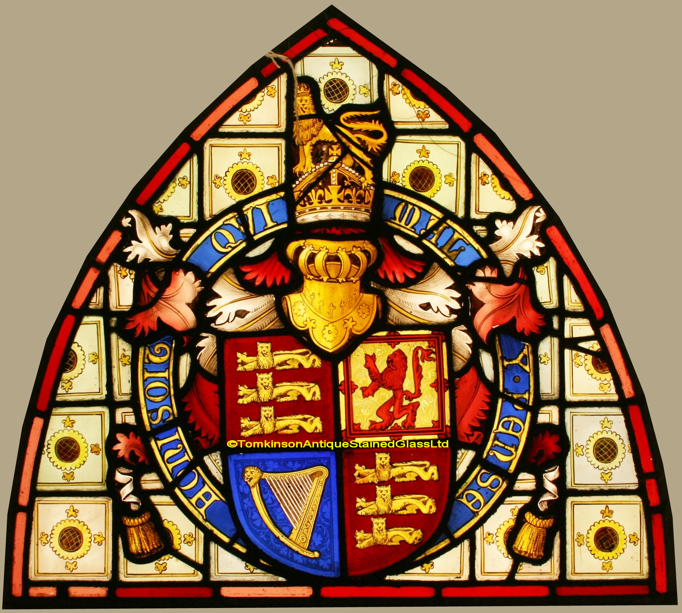 Antique Glass Royal Coat Of Arms