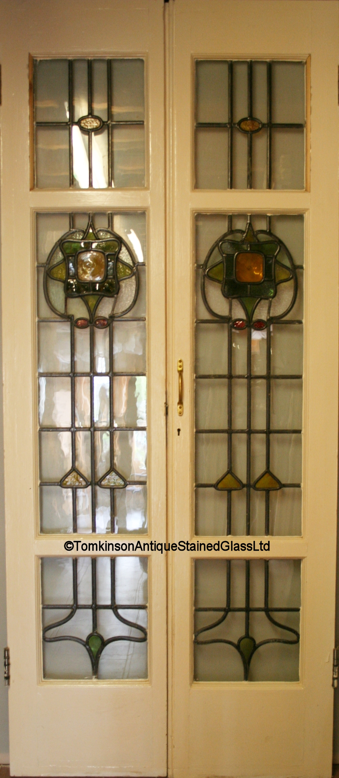 Ref Ed324 2 Edwardian Stained Glass Doors Pair Of French Doors