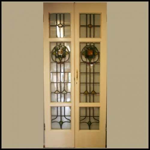Pair of French Coloured Glass Doors