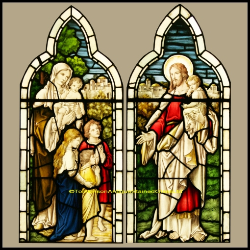 Ref Rel346 2 Antique Religious Church Stained Glass Windows Jesus Blessing The Chrildren