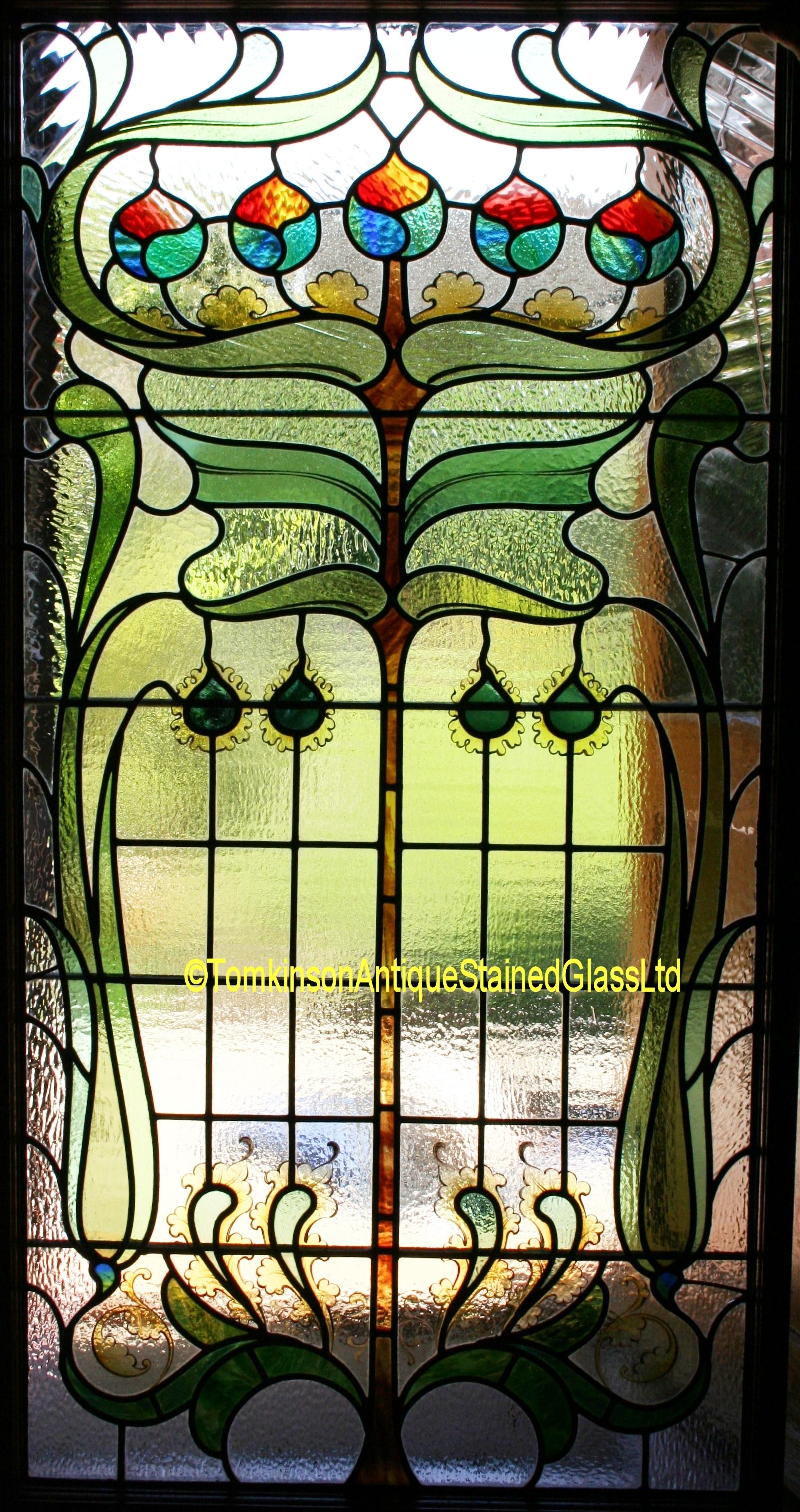 Ref Ed331 2 Edwardian Stained Glass Windows Art