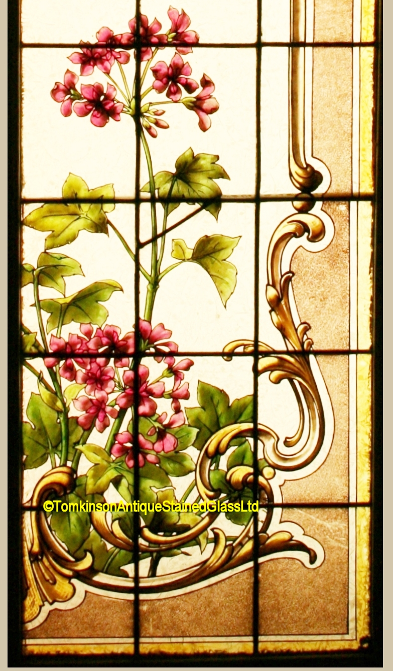 Ref Fre268 Pair Antique French Stained Glass Windows