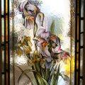 Iris - Victorian Stained Glass Window