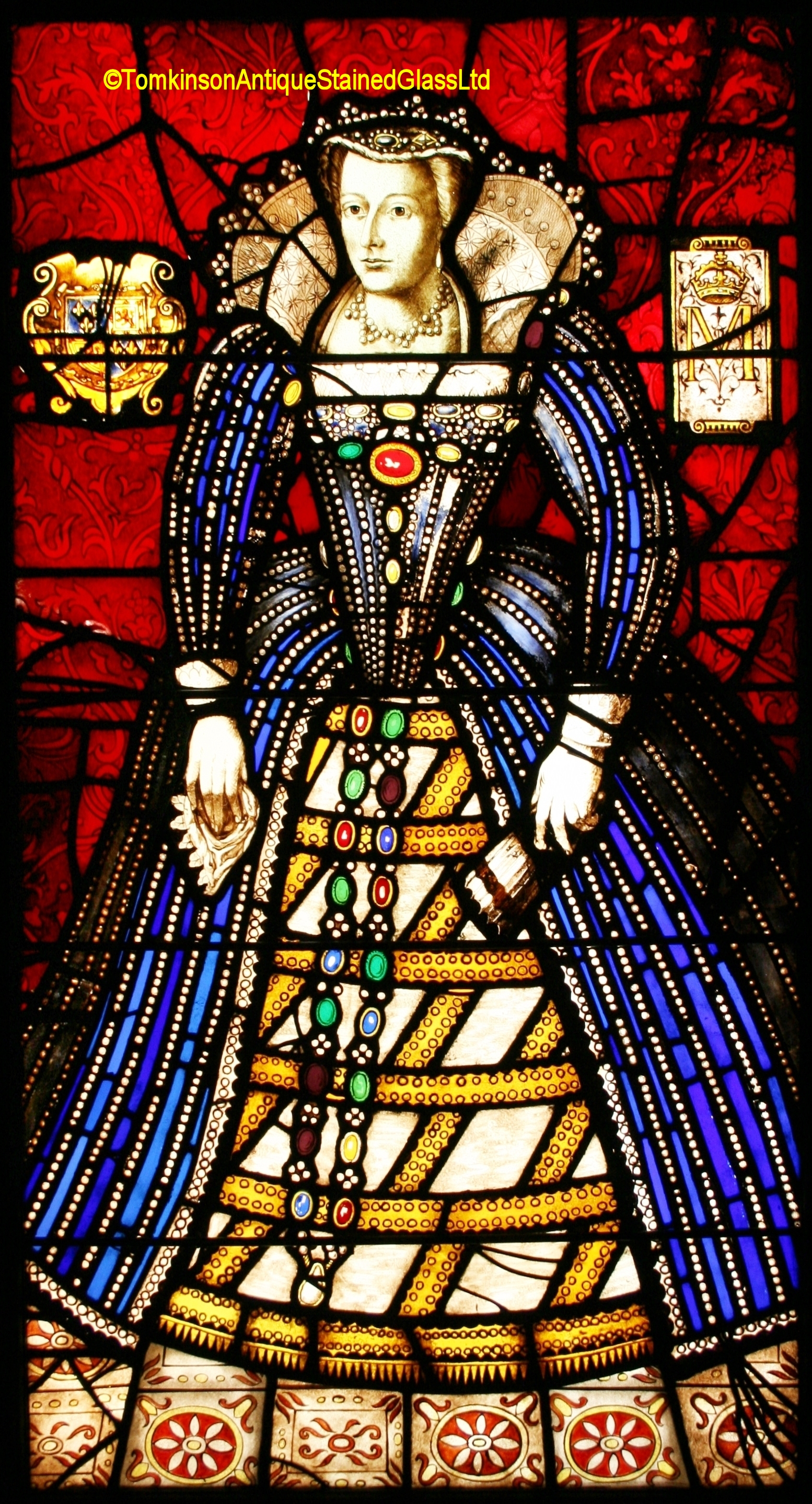 Ref Vic572 Victorian Stained Glass Window Mary Queen