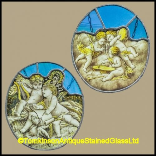 Musical Cherubs Stained Glass Panels