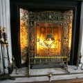 Victorian Brass Fire Screen with Stained Glass