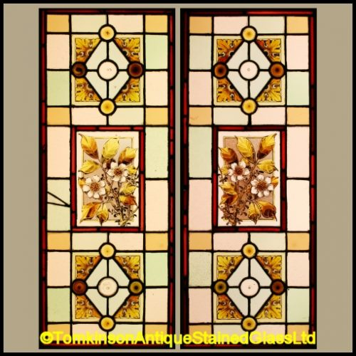 Pair Stained Glass Door Panels