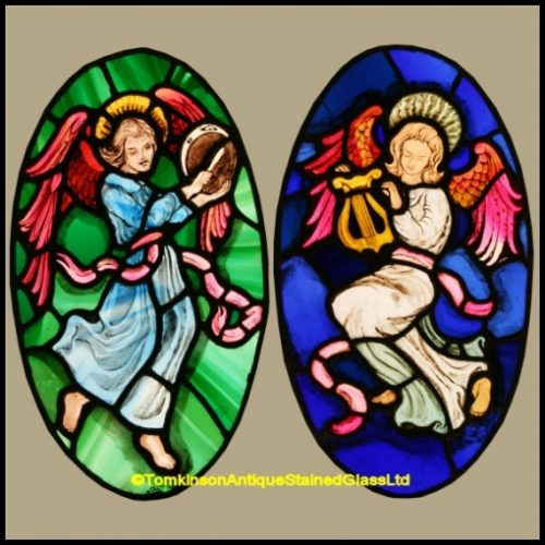 Musical Angels Stained Glass Panels