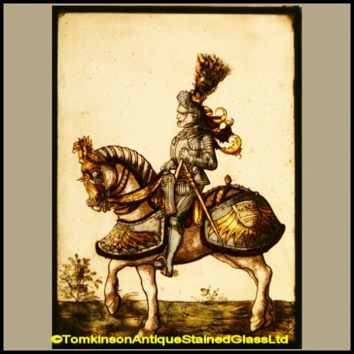 Mounted Knight & Horse Stained Glass Panel