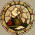 Stained Glass Roundel, Salvaged Glass For Sale