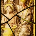Saint Remigius baptising King Clovis. Stained Glass