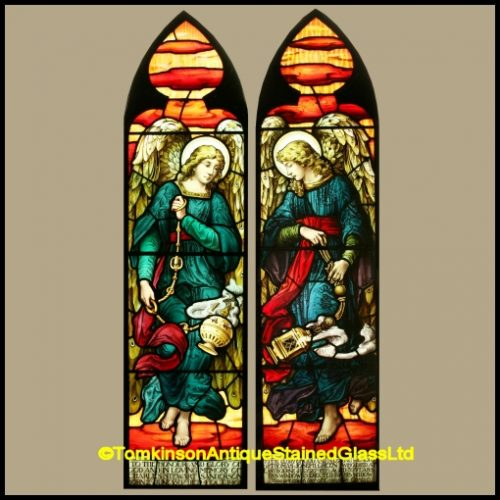 Pair of Lancet Stained Glass Windows