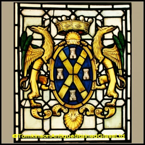Heraldic Cost of Arms Stained Glass Window