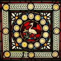 Wooden Firescreen With Stained Glass Window