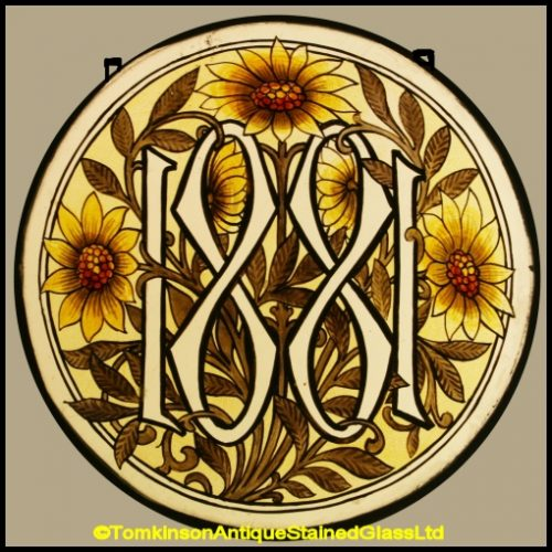 Antique Stained Glass Roundel